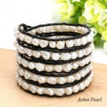Aobei Pearl Handmade Wrap Bracelet in Five Laps with Leather & White Baroque Freshwater Pearl, Pearl Bracelet, ETS-B0033