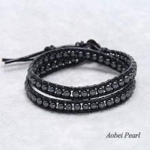Aobei Pearl Handmade Bracelet with 4-5 mm Black Gallstone Beads, Wrap Bracelet, Hematite Bracelet, ETS-B0042