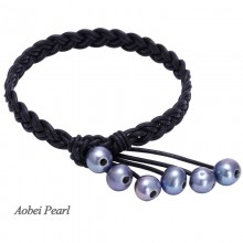 Aobei Pearl, Handmade Bracelet, Braided Bracelet, Pearl Bracelet, Leather Bracelet with 9-10 cm AA Black Potato Freshwater Pearl & Genuine Leather, ETS-B001
