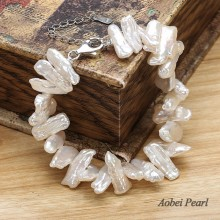 Aobei Handmade Bracelet made of Biwa Freshwater Pearl and 925 String Silver Clasp, Beaded Bracelet, Pearl Bracelet, ETS-B0058
