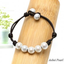 Aobei Pearl Handmade Bracelet made of Freshwater Pearl & Genuine Leather Cord, Braided Leather Pearl Bracelet, ETS-B007