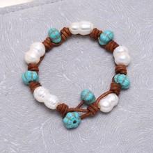 ETS-B071 10-11 mm cucurbit natural white freshwater pearl&turquoise 19cm handmade leather bracelet