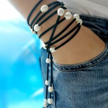 Aobei Pearl, Handmade Pearl & Suede Necklace or Bracelet for Fashion Girls ! Pearl Necklace, Pearl Bracelet, ETS-B075