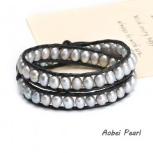 Aobei Pearl --- Handmade Pearls & Leather Wrap Bracelet for Women, Pearl Bracelet, ETS-B084