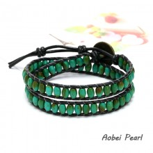 Aobei Pearl Handwoven Bracelet made of Turquoise & Genuine Leather Cord, Leather Beaded Bracelet, Wrap Bracelet, ETS-B089
