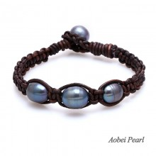 Aobei Pearl Handmade Bracelet made of Freshwater Pearl and Genuine, Leather Pearl Bracelet, Braided Bracelet, ETS-B110