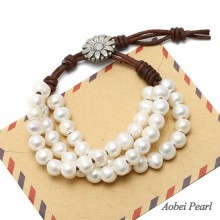 Aobei Pearl - Handmade Bracelet Floral Clasp, Freshwater Pearl and Genuine Leather Cord, Beaded Bracelet, Leather Pearl Bracelet, Wrap Bracelet, ETS-B125