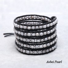 Aobei Pearl Handmade Five Rows Wrap Bracelet made of Freshwater Pearl and Genuine Leather Cord, Leather Pearl Bracelet, ETS-B126