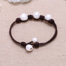 Aobei Pearl - Handmade Bracelet made of Freshwater Pearl and Genuine Leather Cord, Leather Pearl Bracelet, ETS-B137