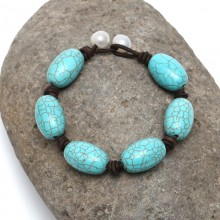 Aobei Pearl, Handmade Bracelet with White Freshwater Pearl, Turquoise and Genuine Leather, Pearl Bracelet, ETS-B148