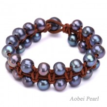 Aobei Pearl Handmade Bracelet made of 9-10 mm AA Freshwater Pearl and Genuine Leather Cord, Braided Bracelet, Pearl Bracelet, ETS-B153