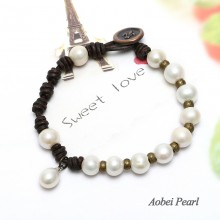 Aobei Pearl Handmade Bracelet with Freshwater Pearl and Genuine Leather Cord, Knotted Leather Pearl Bracelet, ETS-B159