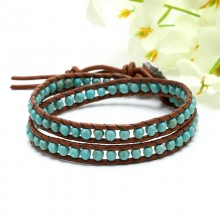Aobei Pearl Handmade Bracelet with 4 mm Cut Surface Turquoise and Genuine Leather Cord, Wrap Bracelet, ETS-B165