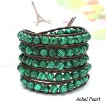 Aobei Pearl - Handmade 8 mm Malachite & Leather Cord Wrap Bracelet, Pearl bracelet, 5 Laps Bracelet, ETS-B173