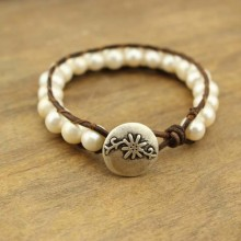 Aobei Pearl, Handmade Bracelet with Freshwater Pearl and Genuine Leather Cord, Wrap Bracelet, Pearl Bracelet, ETS-B220