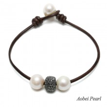 Aobei Pearl - Handmade Bracelet made of Freshwater Pearl, Alloy Bead & Genuine Leather Cord, Leather Pearl Bracelet, ETS-B232