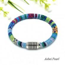 Aobei Pearl - Handmade Boho Cloth Cord Bracelet, Bohemian Bracelet, Fabric Bracelet, Magnetic Bracelet, ETS-B249