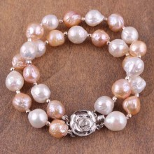 10-11 MM Natural Edison Potato Pink Stoned Freshwater Pearl Platinum Accessory Fine Bracelet