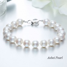 Aobei Pearl, Handmade Bracelet with Freshwater Pearl and 925 String Silver Clasp, Pearl Bracelet, ETS-B390
