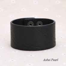 Aobei Pearl - Handmade Bracelet made of Genuine Leather Cord, Leather Cuff Bracelet,  ETS-B405