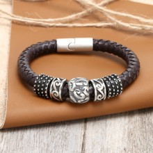 Aobei Pearl Handmade Braided Real Leather Bracelet with Stainless Steel Accessory for Men & Women, Large Bracelet, ETS-B414