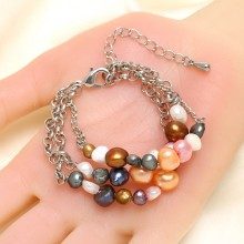 Multi-color  Pearl Strand Bracelet with 9-10mm Baroque Pearls on Alloy Chains ETS-B459