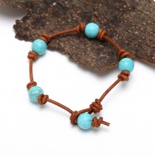 Handmade Vintage Turquoise Leather Bracelet with Genuine Leather and 10mm Turquoise ETS-B460