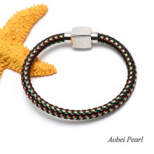 Aobei Pearl Handmade Bracelet made of High Quality Braided Rope and Stainless Steel Magnetic Clasp, Wrap Bracelet,  ETS-B464