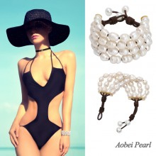 Aobei Pearl - Handmade 4 Strands Bracelet made of Freshwater Pearl and Genuine Leather, Leather Pearl Bracelet, Wrap Bracelet, Adjustable Bracelet, ETS-B465