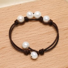 Aobei Pearl, ETS-B466 10-11mm&9-10mm potato white freshwater pearl 20 cm adjustable leather handmade fashion bracelet