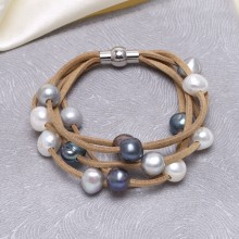 5 Layer Locket Pearl Leather Bracelet for Women High Quality Handcraft Bracelet ETS-B469