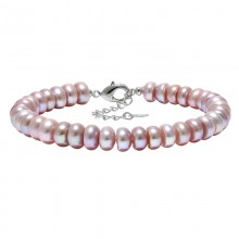 ETS-B470 AAA 7-8 mm button pink/white/purple freshwater pearl 925 silver clasp fine necklace with fine box