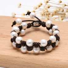 Aobei Pearl - ETS-B472 10-11mm potato white pearl genuine leather strap bracelet