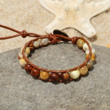 Aobei Pearl, Handmade Real Leather Wrap Bracelet with 8 mm Natural Stone, ETS-B488