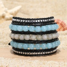 Aobei Pearl, Handmade Bracelet made of 8 mm Natural Stones, 3 mm * 3 mm Hematite and Real Leather Cord, Wrap Bracelet, Natural Stone Bracelet, Sewing Bracelet, ETS-B496