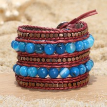 Aobei Pearl, Handmade Bracelet made of 8 mm Natural Stones, 3 mm * 3 mm Hematite and Real Leather Cord, Wrap Bracelet, Natural Stone Bracelet, Sewing Bracelet, ETS-B498