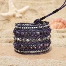 Aobei Pearl, Handmade Bracelet, Wrap Bracelet, 5 Laps Bracelet, Handmade Sewing Bracelet, Fashion Bracelet, Natural Purple Stones Bracelet, Bracelet for Yang Girls, Crystal Bracelet, ETS-B502