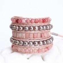 Aobei Pearl , Handmade Bracelet, Wrap Bracelet, Pearl Bracelet, Leather Bracelet, Handmade Sewing Bracelet, Fashion Bracelet, Party Bracelet., ETS-B505