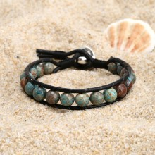 Aobei Pearl, Handmade Sewing Earring made of 8 mm Natural Stones and Real Leather, Leather Bracelet, Wrap Bracelet, ETS-B506