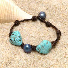 Aobei Pearl, Handmade Bracelet with Turquoise, 11-12 mm Potato Peacock Blue Freshwater Pearl and Real Leather Cord, Pearl Bracelet, Leather Bracelet, Turquoise Bracelet, ETS-B507