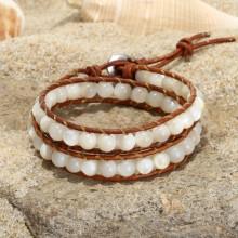 Aobei Pearl, Handmade Wrap Bracelet with Sewing Skill for Women, Margarita Snail Shell Beads Bracelet, ETS-B514