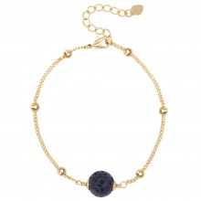 Aobei Pearl Handmade Lava Rock Bracelet on 18 K Gold Plated Satellite Chain and Lobster Clasp, Chain Bracelet, Adjustable Bracelet, ETS-B562