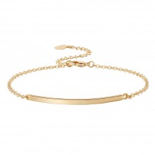 Aobei Pearl Handmade Curved Bar Bracelet on 18 K Gold Plated Chain and Lobster Clasp, Link Chain Bracelet, Adjustable Bracelet, ETS-B567