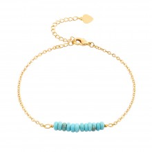 Aobei Pearl Handmade Turquoise Beads Bar Bracelet on 18K Gold Plated Chain and Lobster Clasp, Link Chain Bracelet, Adjustable Bracelet, ETS-B568