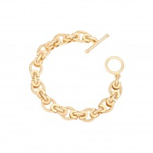 Aobei Pearl 18K Gold Plated Chunky Twisted Rope Link Chain Bracelet for Women Handmade Jewelry OT Toggle Bracelet, ETS-B575