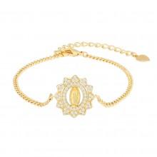 Aobei Pearl 18k Gold Cuban Chain Bracelet Virgin Mary Medallion Bracelet Handmade Adjustable Charm Bracelet for Women, Gold Chain Link Jewelry for Women ETS-B592