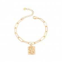 Aobei Pearl 18k Gold Oval Chain Bracelet CZ Cleopatra Rectangle Medallion Bracelet Handmade Adjustable Bracelet for Women, Gold Charm Jewelry for Women ETS-B593