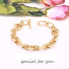Aobei Pearl 18k Gold Chunky Oval Chain Bracelet Dainty OT Toggle Bracelet Handmade Gold Bracelet Anklet for Girls, Chain Link Jewelry for Women ETS-B594