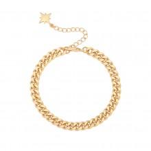 Aobei Pearl 18k Gold Chunky Cuban Chain Bracelet with North Star Charm Dainty Adjustable Link Bracelet Handmade Gold Bracelet Anklet for Girls, ETS-B596