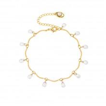 Aobei Pearl Handmade Bracelets,Dainty Gold Hammered Bar Bracelet 18K Gold Wavy Chain Bracelets for Women Charm Cute Teardrop Imitation Diamond CZ Dangling Bracelets Handmade Trendy Jewelry,ETS-B604